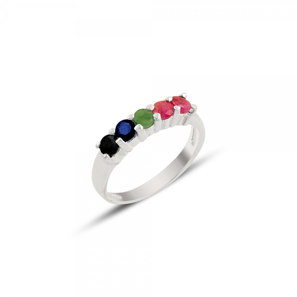 Silver 925 Sterling Natural Ruby, Emerald & Sapphire Dibs Ring()