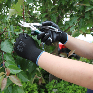 Image 4 - שחור כפפות GMG שחור אדום לבן פוליאסטר שחור אפור Nitrile חלק ציפוי בטיחות עבודה כפפות מכניקה יד כפפות לעבודה