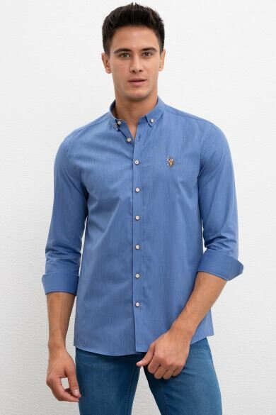 U.S. POLO ASSN. Blue Plain Slim Shirt