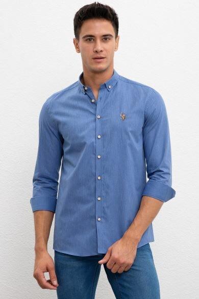 U.S. POLO ASSN. Blue Plain Slim Shirt