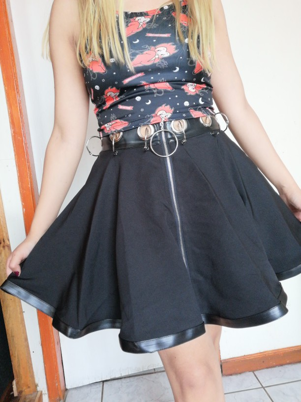 Black Mini Skirts with  Rings and Zipper photo review