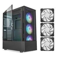 VETROO ATX Mid-Turm PC Gaming Fall Gehärtetes Glas Seite Panel Wasser-Kühlung Bereit Mit Pre-Installiert 3PCS 120mm ARGB/PWM Fans