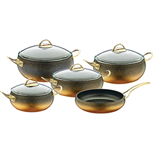 Juego de utensilios de cocina de recubrimiento de granito de fundición de aluminio, ollas y sartén, antiadherente, apta para lavavajillas, 9 Uds.