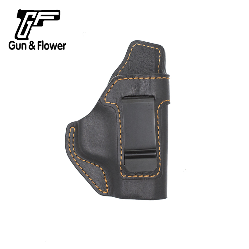 Gunflower IWBLeather Gun Holsters Concealed Carry Pistol Bags Brown Stich with Belt Clip for M&P Sheild