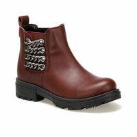 Girls Boots Shoes Spring Autumn Red Burgundy Black PU Children's LeatherFashion Kids Warm Winter Rubber Waterproof Snow Rain Bab