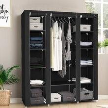 Cloth Wardrobe Furniture Storage-Cabinet Fabric Closet Folding Portable Non-Woven HWC