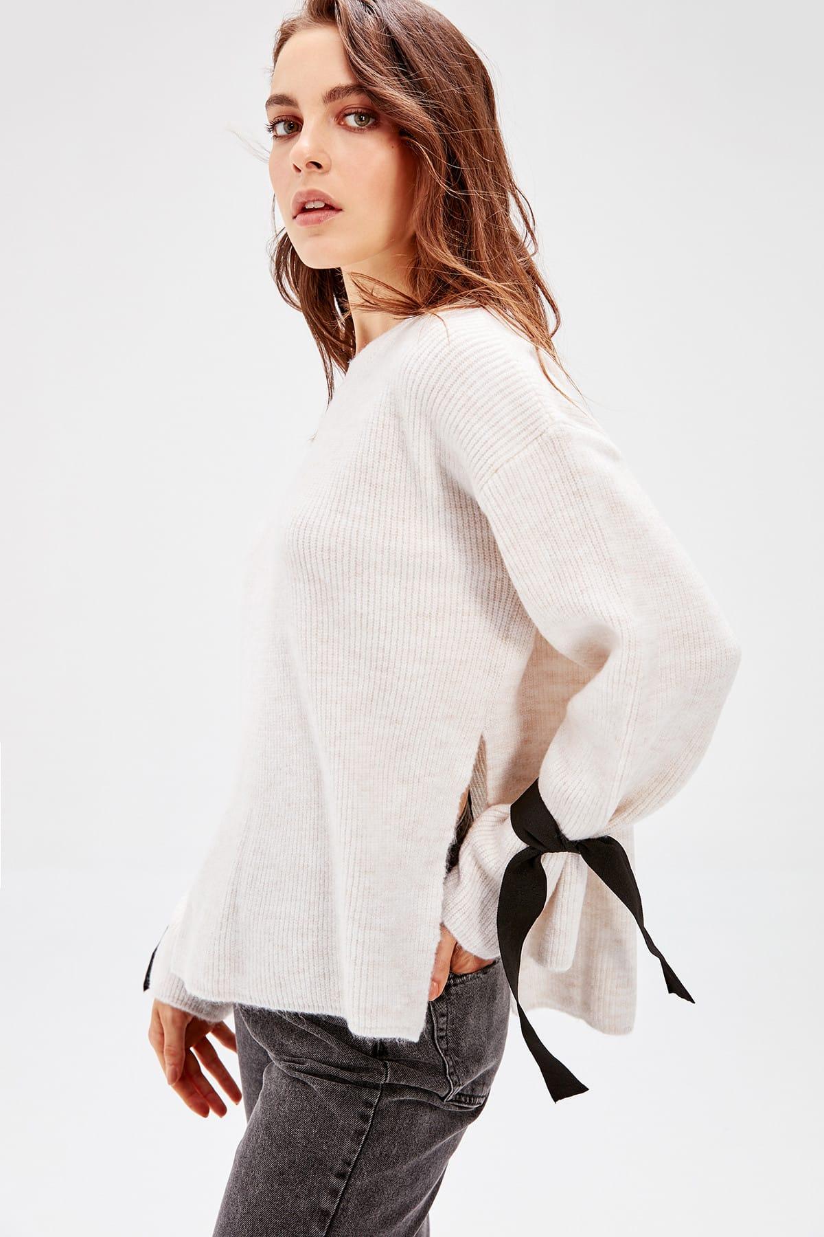 Trendyol WOMEN-Ecru Bike Collar Sleeves Lacing Detailed Knitwear Sweater TWOAW20NK0030