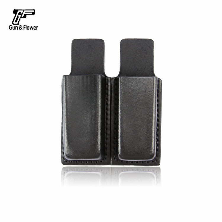 Gunflower Duty Gear Leather Double Handgun Magazine Pouch Open Top Mag Holder for 9mm double stack magazines in Pouches from Sports Entertainment