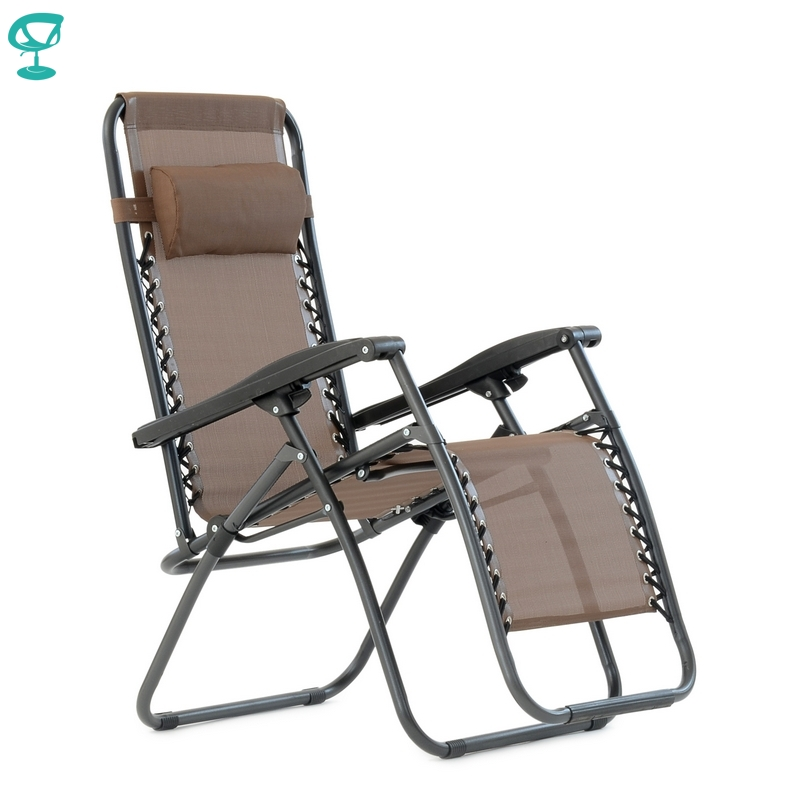 95637 Barneo PFC-14 Brown Folding Reclining Garden Deck Chair Sturdy Tubular Steel Frame HardWearing Textoline Fabric Adjustable