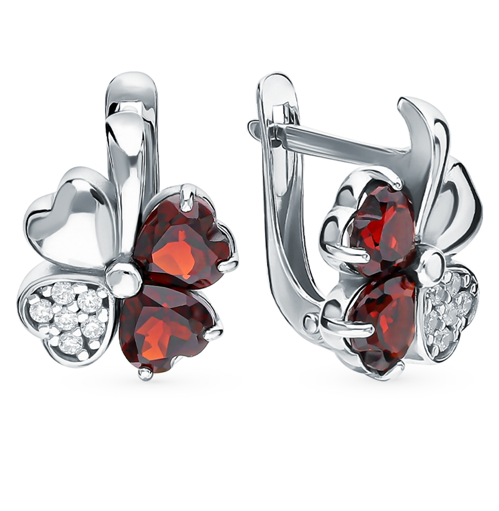 Silver Earrings With Cubic Zirconia And Garnet Sunlight Sample 925