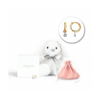 """Sokolov Earrings In Gold With Diamonds With A Soft Toy """"Hare"""", Fashion Jewelry, 585, Women's/men's, Male/female"""