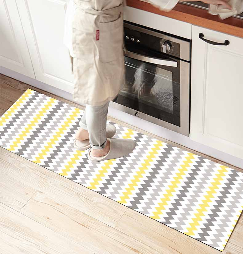 Else Scandinavian Gray Yellow Stripes Lines 3d Print Non Slip Microfiber Kitchen Counter Modern Decorative Washable Area Rug Mat