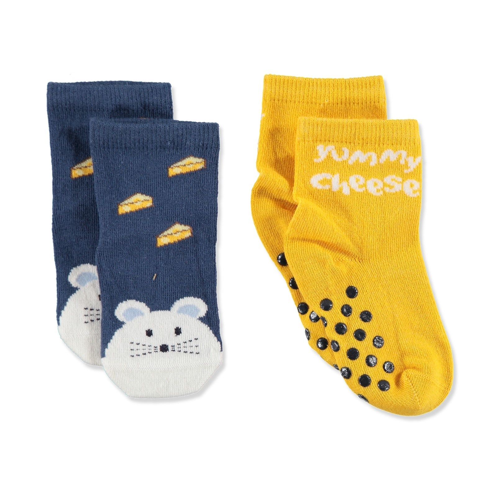 Ebebek Step 2 Pack Baby Socks Six Printed Mouse Cheese