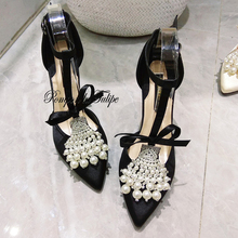 MNK 930026 Stylish Silk Pearl Rhinestone Bowknot Elegant Sheepskin Pumps 8/10CM Chic Stilettos Fancy Party Wedding Women Shoes