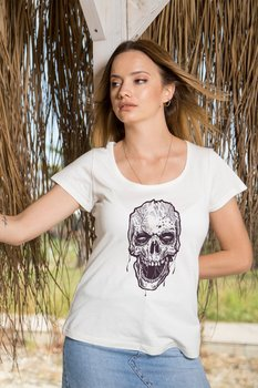 Angemiel Wear Lineal Wild Skull And Crossbones Cotton White Women 'S T-Shirt image