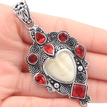 Free Shipping Awesome Freedom Goddess Face, Black Sapphire Silver Pendant