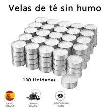 100 PCs perfume-free tea candles, with aluminium case, no scent, white color
