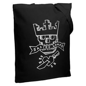 Холщовая сумка Sacred Bones, черная, CoolColor, унисекс, экологичная сумка на плечо, модный шоппер, вместительная сумка-тоут