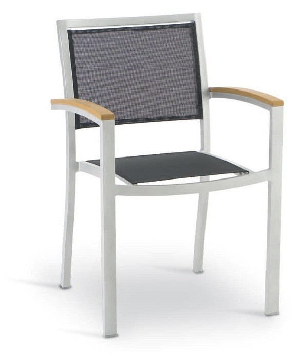 Armchair KOS, Aluminum, Silver, Textilene Black