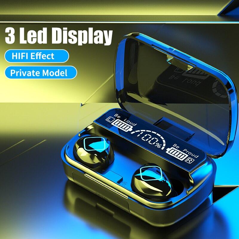 Mais novo sem fio bluetooth fones de ouvido controle toque 3 display led fone com cancelamento ruído handsfree alta fidelidade para o telefone