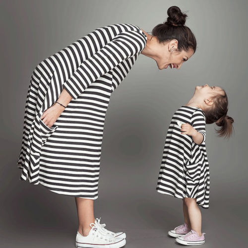 >Fashion Family <font><b>Matching</b></font> <font><b>Clothing</b></font> Mother And Daughter Clothes Striped Three Quarter Sleeve <font><b>Autumn</b></font> Spring Dresses Outfits Casual