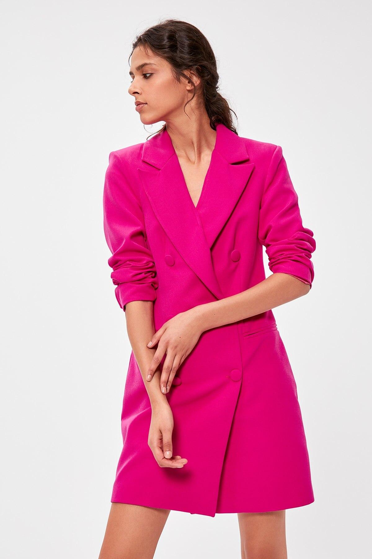 Trendyol платье жакет цвета фуксии TWOAW20EL0918 Платья      АлиЭкспресс