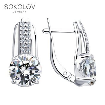SOKOLOV drop earrings with stones in silver with enamel and cubic zirconia, fashion jewelry, 925, women's/men's, male/female, long earrings, women's male