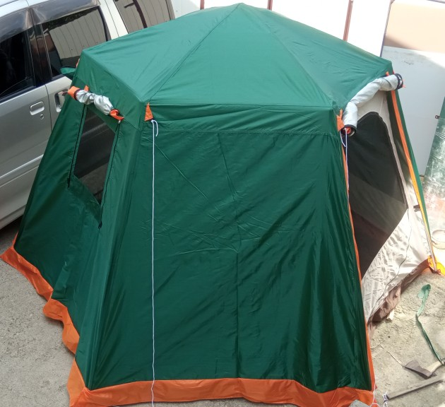 UV Hexagonal Aluminum Pole Automatic Outdoor Camping Wild Big Tent Family Travel 4-6Persons Awning Garden Pergola