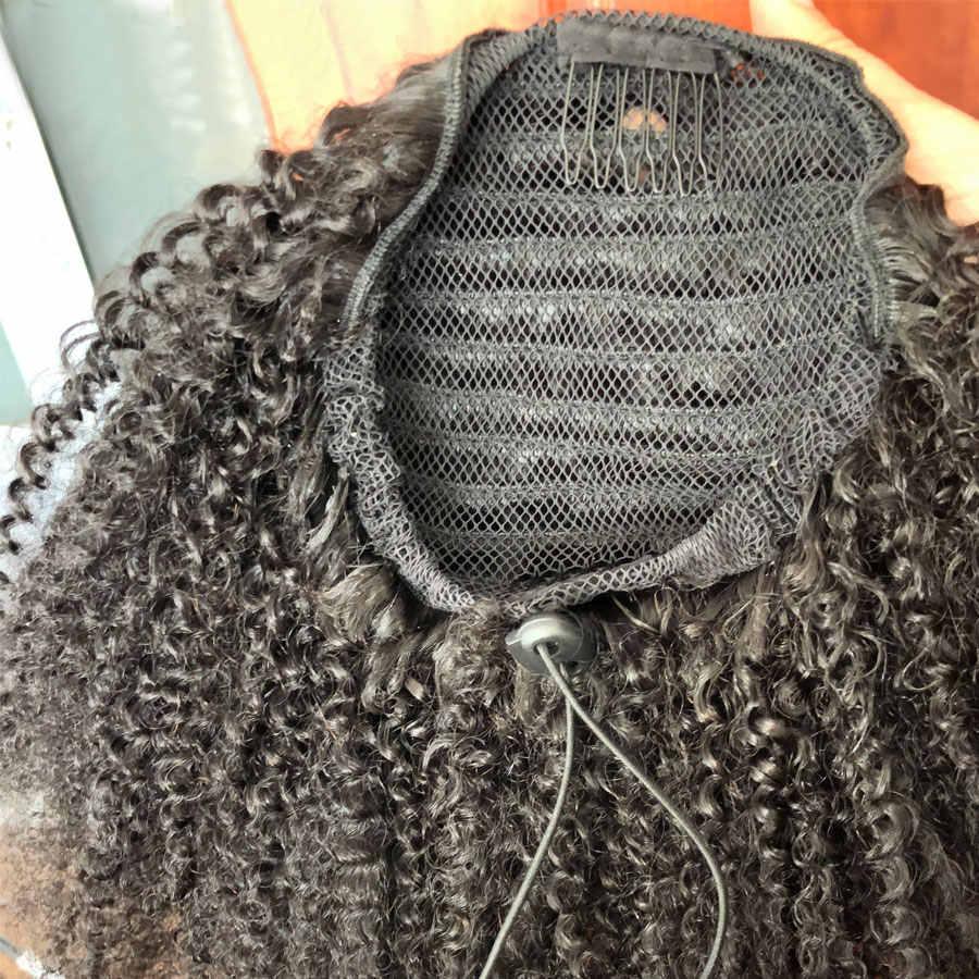 Moda señora Remy pelo Afro rizado cordón Cola de Caballo Clip en cola de caballo pelo humano