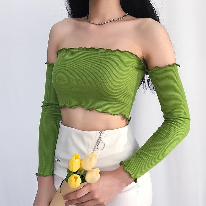 Women Sexy Off Shoulder Top Full Sleeve Knit Bandage Debardeur Femme T Shirt Tank Elegant Ladies Party Vest Streetwear