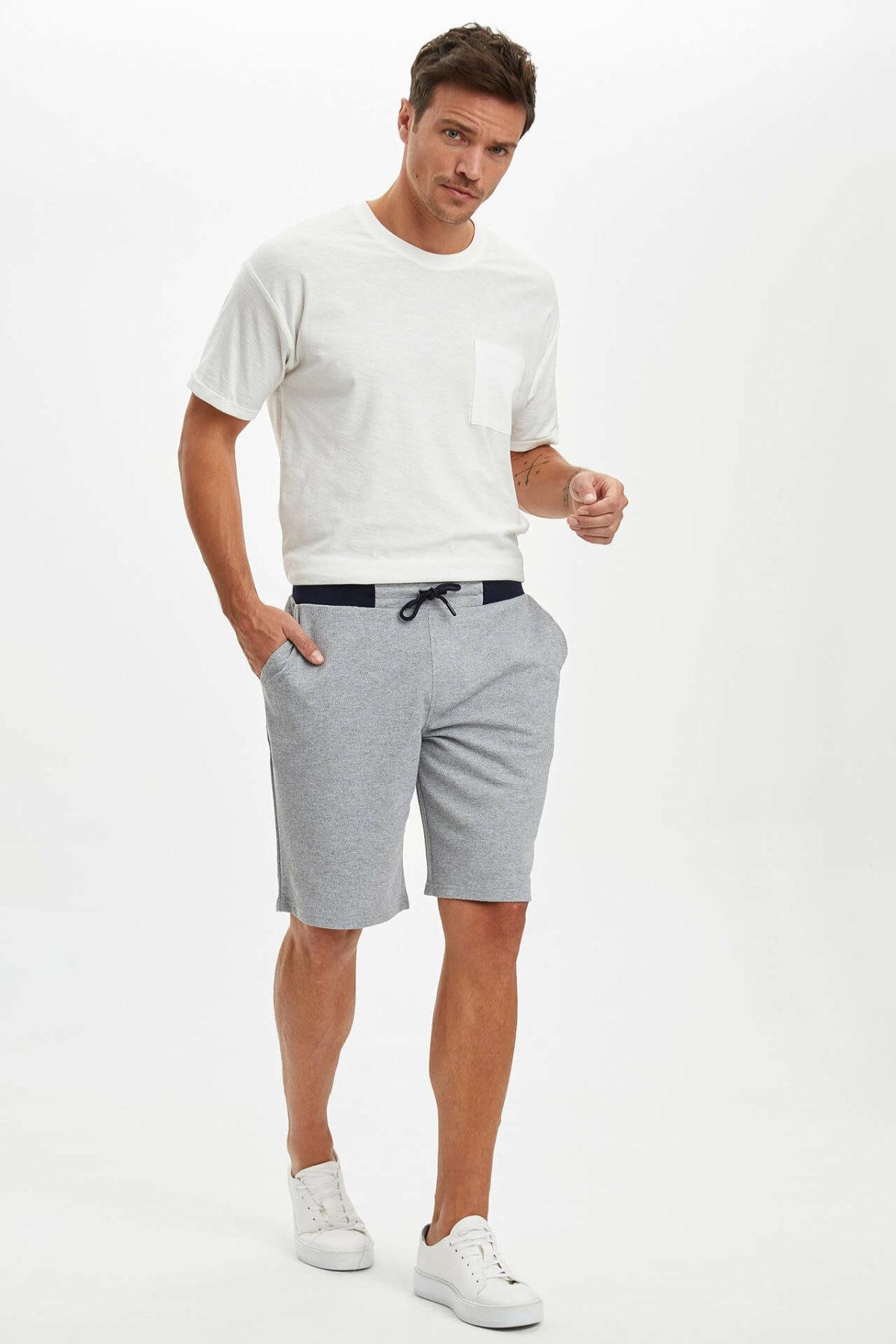 DeFacto Man's Short Bottoms Men's Light Grey Casual Shorts Men's Lace-up Adjustable Shorts-N7213AZ20SM