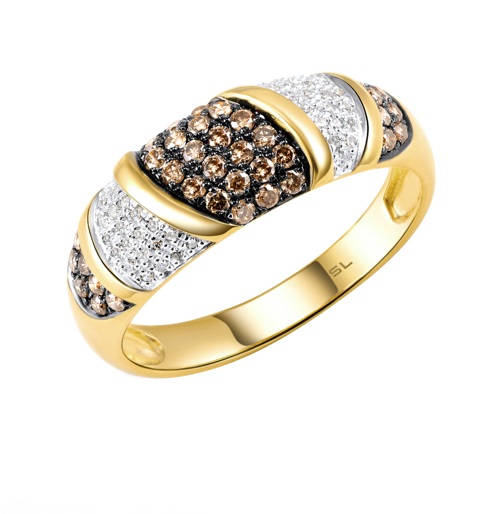 Gold Ring With Cognac Diamonds Sunlight Sample 585