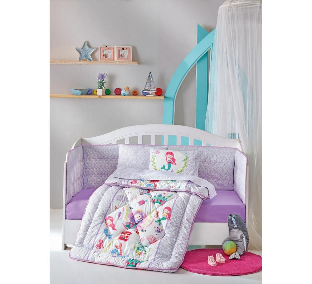 Made In Turkey MERMAID Infant Baby Crib Bedding Set Bumper For Boy Girl Nursery Cartoon  Baby Cot Cotton Soft Antiallergic Lilac