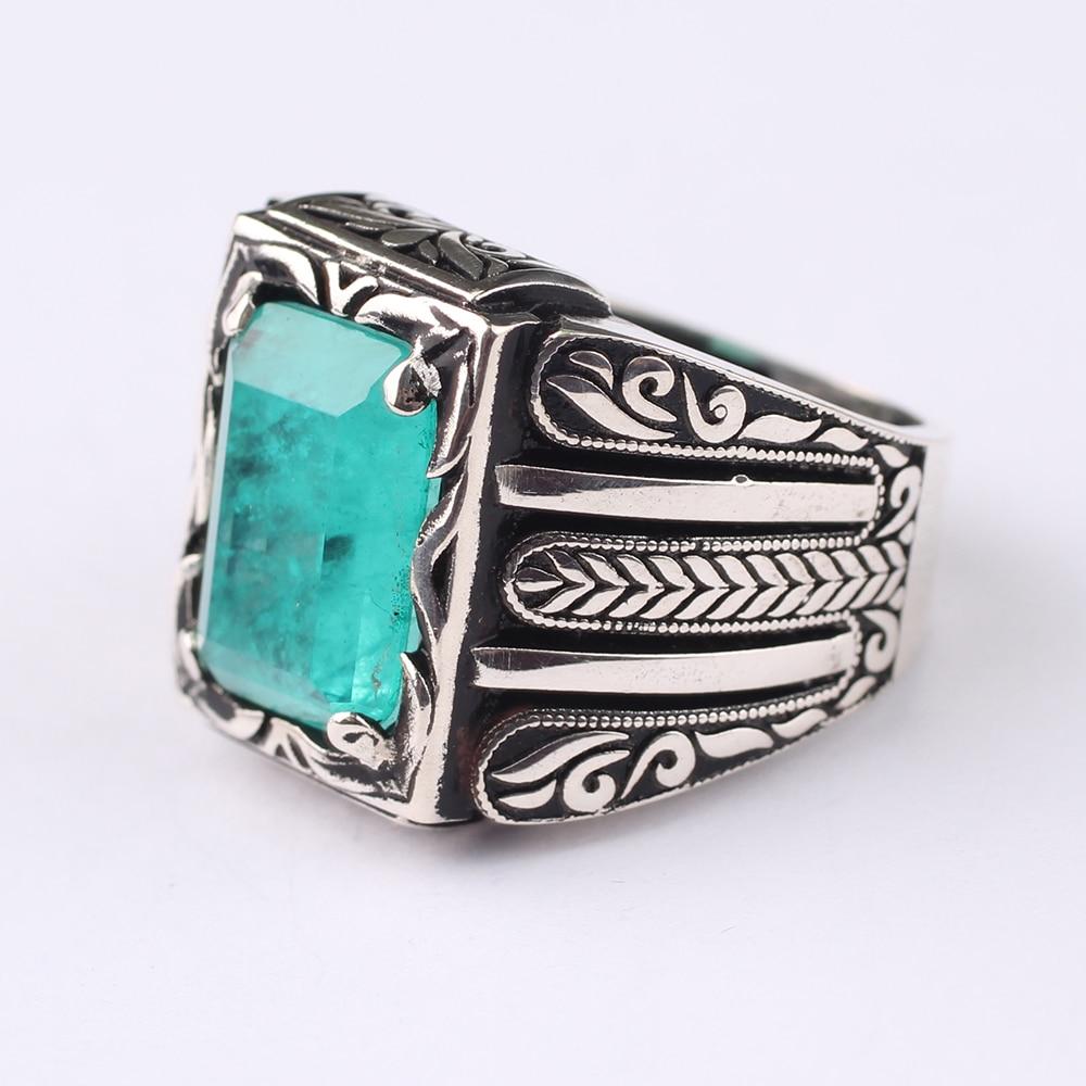 Handmade Mens 925 Silver Light Green Paraiba Tourmaline Ring, Handmade Silver Rectangular Tourmaline Ring