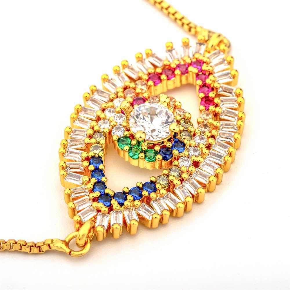 Modna tęcza seria bransoletka z muszli i bransoletka biżuteria kolorowa cyrkonia regulowana bransoletka miedź krzyż łańcuch bransoletki prezent