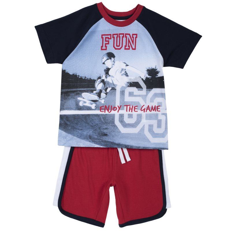 Set T shirt and shorts Chicco, size 098, print skate (gray red)