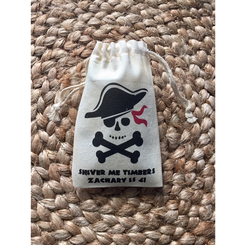 Personalized Pirate Party Gift Bags Shiver Me Timbers Bachelorette Muslin Survival Kit Bags Groomsman Recovery Kit Hangovers Bag