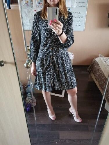 2020 New Casual Summer Dress Women Single Breasted Print Above Knee Mini V-neck Three Quarter Sleeve Dress