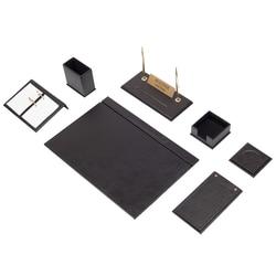 Conjunto de escritorio de piel de 9 piezas (organizador de escritorio, accesorios de oficina, accesorios de escritorio, suministros de oficina, organizador de oficina)