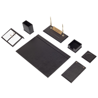 Leather Desk Set 9 Pieces (Desk Organizer, Office Accessories, Desk Accessories, Office Supplies, Office Organizer)