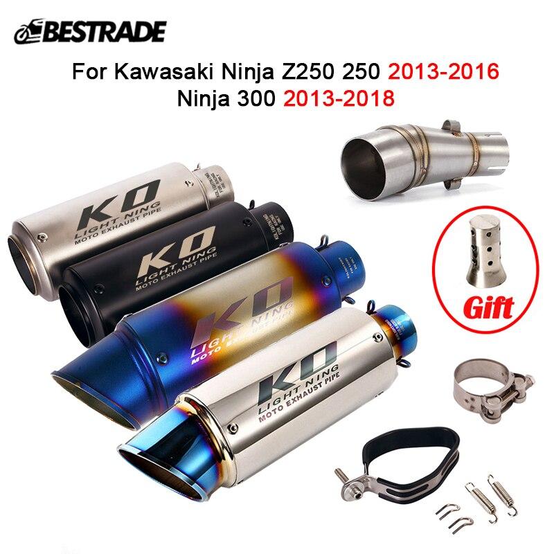 Tubo de enlace medio para motocicleta Kawasaki Ninja Z250 250 300 2013-2016, silenciador extraíble DB Killer, 51mm