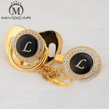 MIYOCAR unique design name Initials letter L beautiful bling pacifier and clip BPA free dummy LL