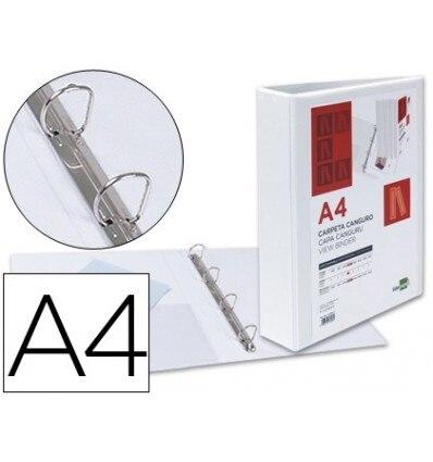 FOLDER KANGAROO 4 RINGS MIXED 40MM LIDERPAPEL A4 PLASTIC WHITE