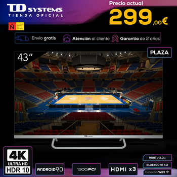 Televisions Smart TV 43 inch TD Systems K43DLX11US. UHD 4K HDR, DVB-T2/C/S2, HbbTV [shipping from Spain, 2 year warranty]