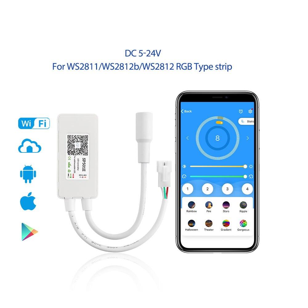 Dc 5v 12v 24v Led Spi Controller Ws2811 Ws2812b Addressable Pixel Mini Wifi Controller Magic Home