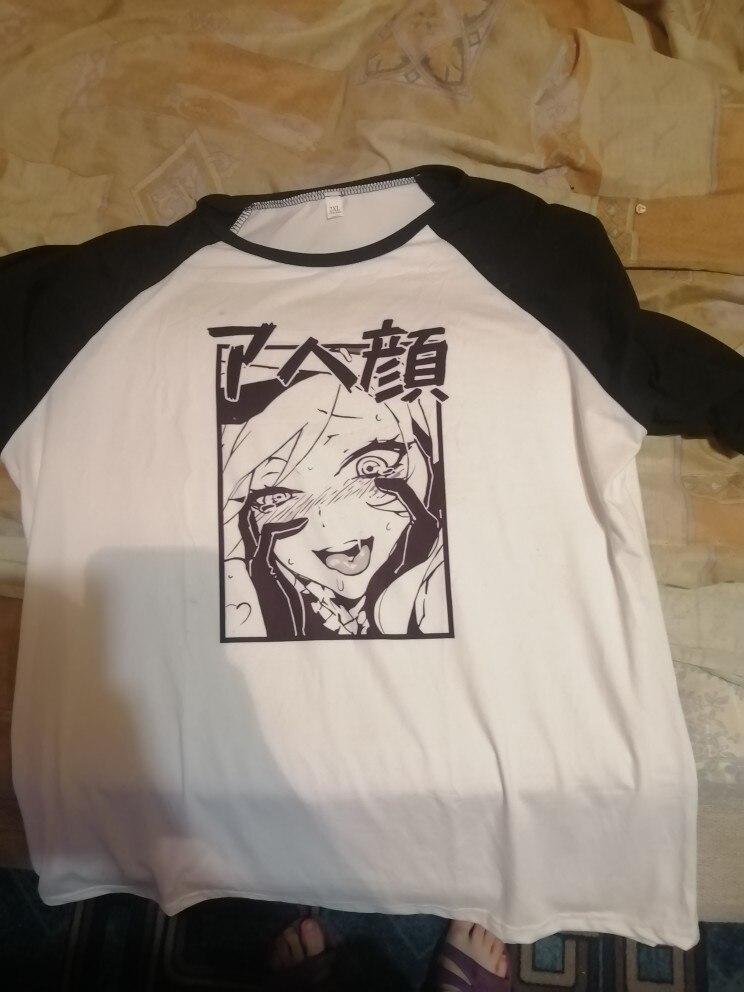 Men's Tshirt Funny Japan Anime Ahegao Premium Printed Harajuku Unisex Short Sleeve T Shirt Men Women Streetwear T-Shirt photo review