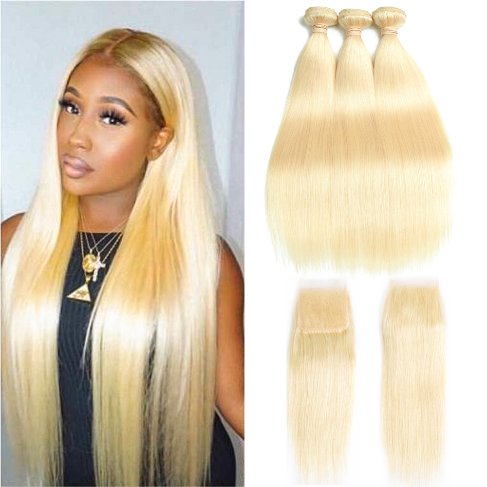 Beaudiva Human Hair Blonde 613 Bundles With Closure Brazilian Straight Hair Weave Bundles With Closure