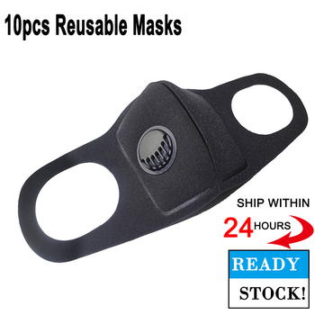 10pcs Reusable Mouth Mask 3D Black Anti Flu Masks With Valve Breathable Washable Dust Proof Soft Face Mask In Stock