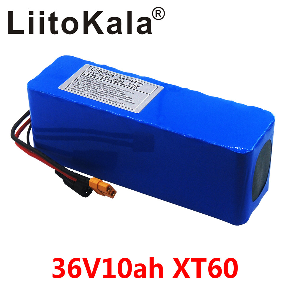LiitoKala 36V 10AH Electric Bike Battery Built In 20A BMS Lithium Battery Pack 36 Volt Ebike Battery XT60 Plug