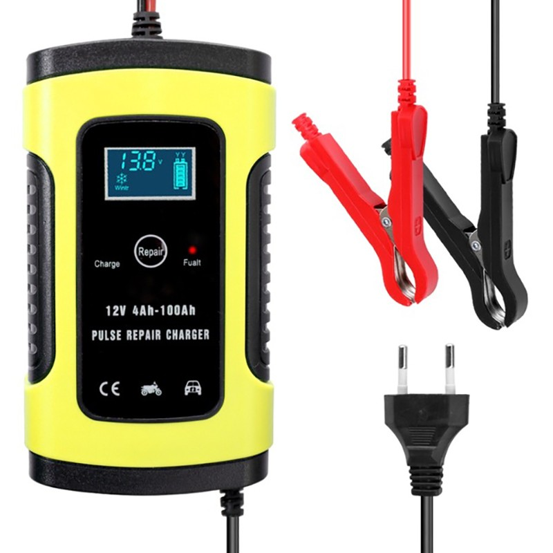 12V 6A Automatic Battery Charger Power EU US LCD Screen Intelligent Fast Charging Units For Car Motorcycle Pulse Repair Charger